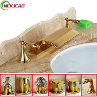 Crystal Handle Basin Faucet Widespread Bathtub Faucet Waterfall LED Mixer Taps Deck Mounted Hot and Cold Water Faucet 3 Holes