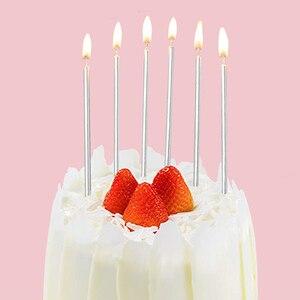 Image 4 - 6 Pcs ארוך דק עוגת נרות מתכתי יום הולדת נרות ארוך דק נרות מחזיקי עבור יום הולדת מסיבת חתונת עוגת קישוטים
