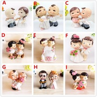 Free Shipping Adorable Resin Crafts Bride Groom Cake Topper Wedding Party Cake Decoration Cute Small Figurine