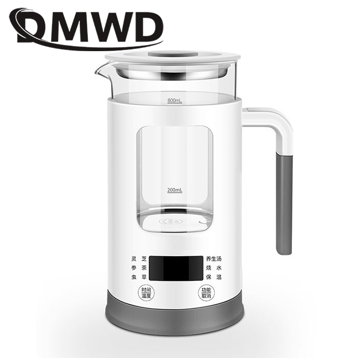DMWD Mini Multifunction Electric Kettle Stainless Steel Health Preserving Pot Glass Boiled Warm Tea Pot Hot Water Heating Bottle
