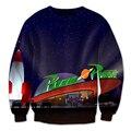 Новый Стиль Galaxy Планета Пицца 3D Печать Мужчины Мужская Толстовка Моды Костюм Мужчины Спортивная Повседневная Пуловер