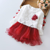 2016 New Girls Dress Flower Lace TuTu Dance Party Pagant Spring And Autumn Baby Kids Clothing
