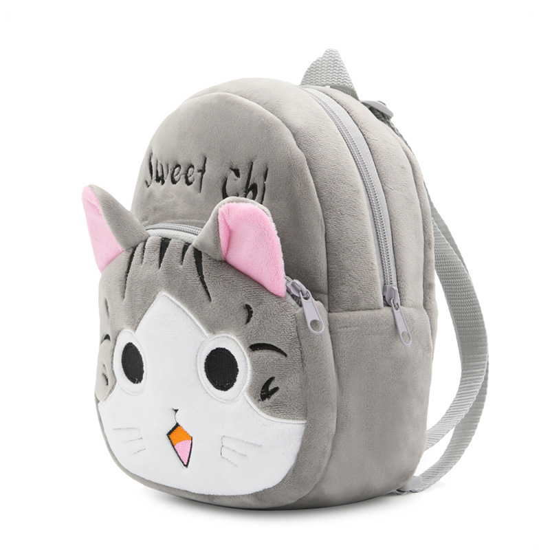 Lovely Plush Backpacks Cartoon Chi's Cat Plush Flip-open Cover Kindergarten Backpack Soft Bag Children Kids Girls For 1-3 Years