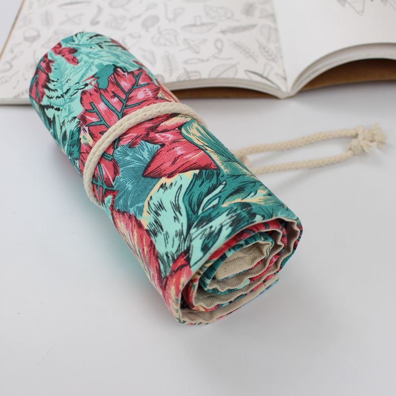 36/72 Holes Beautiful maple Pencil Case School Roll Pouch Makeup Comestic Brush Pen Storage pecncil bag Estuches School penalty good quality 36 48 72 holes canvas pencil case roll up sketch painting pen box school office pencil stationery bag b066