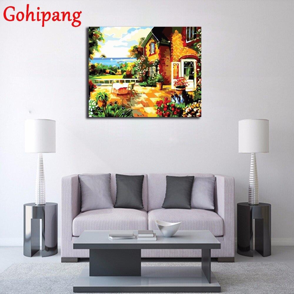 Pada Gaya DIY Minyak Lukisan Gambar Dinding Cat Akrilik Modern Dengan Angka Taman Mewarnai Dengan Nomor Rumah Dekorasi di Cat Dengan Nomor dari Rumah