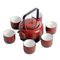 Jingdezhen pottery kung fu tea set red pottery beam pot teapot large capacity cups