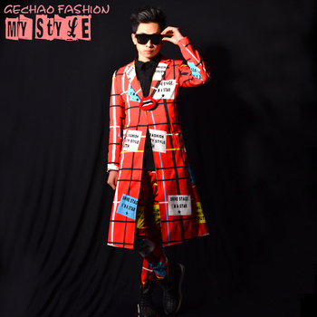 New 2017 men's clothing Nightclub male singer DSDJ stage performance clothing GD red line long coat bar singer costumes