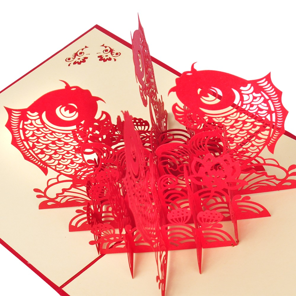 chinese happy new year 3d fish personalized handmade 3d greeting cards