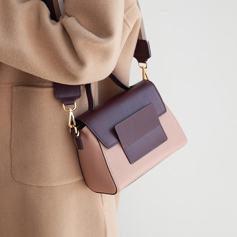 Bagaj ve Çantalar'ten Omuz Çantaları'de VENOF moda retro geniş sapanlar gerçek deri omuzdan askili çanta kadınlar için lüks çapraz vücut kadın çantası zarif bayanlar el çantaları 2018'da  Grup 1