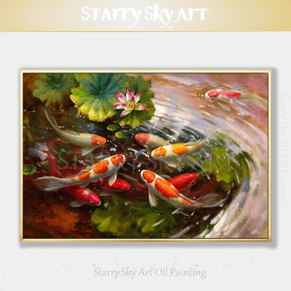 Professional Artist Pure Hand-painted Animal Fish Carp Oil Painting on Canvas Beautiful Koi Cyprinoid Oil Painting for Wall Art