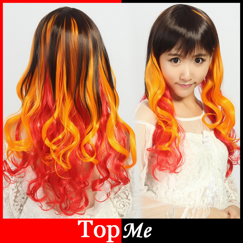 Women Wigs Long Curly Wavy Synthetic Hair Heat Resistant Fluffy Dark