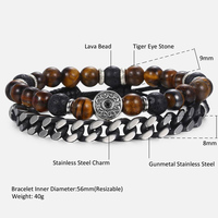 "Unique Natural Tiger Eye Stone Men's Beaded Bracelet Stainless Steel Cuban Link Chain Bracelets Male Gifts Dropshipping 8"" DLB68 4"