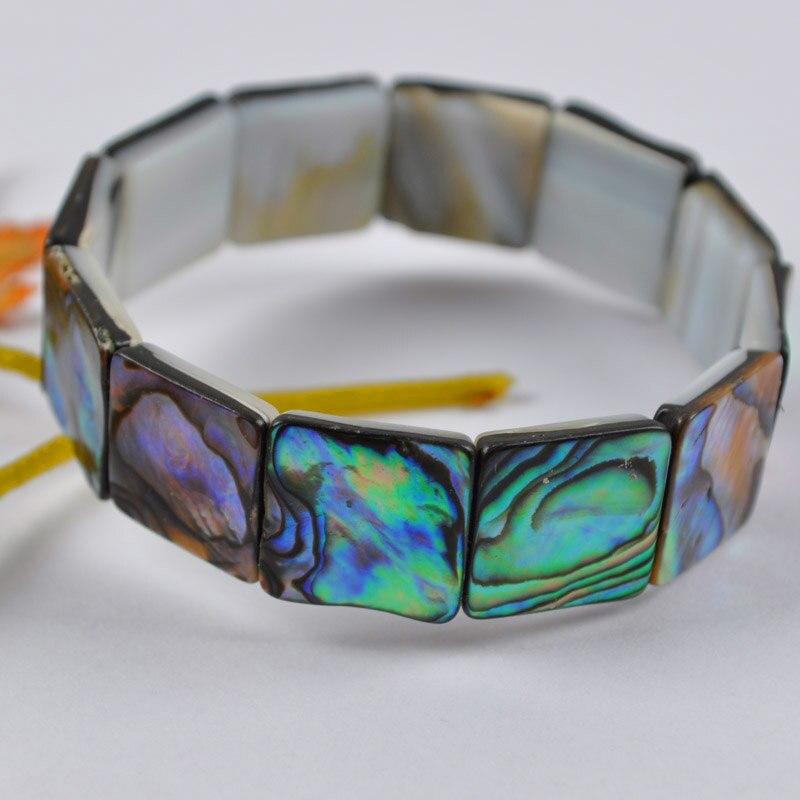 Onpartijdig Nieuw-zeeland Abalone Shell Kralen Vierkante Armband 7 Inch Sieraden G592 Met De Beste Service