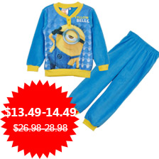 2016 Childrens Boys Fleece PJ Pyjama Cartoon Characters Minions Mickey Toddler Sleepwear Pajama Set For Kids Boys