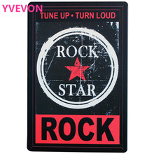 ROCK STAR TUNE UP TURN LOAD Metal Tin Sign Retro Music decor Plate for dancing bar party modern wall holiday SPM8-4 20x30cm modern rock music box 4 cd