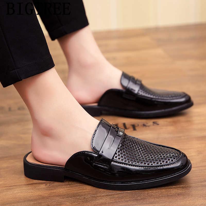 ครึ่งรองเท้าสำหรับชายรองเท้าผู้ชายคุณภาพสูง mule masculino mens casual รองเท้าขายร้อน venting holep sepatu slip บน pria