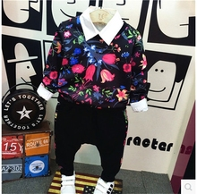 2016 Korean children fall fashion fashion handsome boy floral stamp sweater + casual pants two piece suit free shipping
