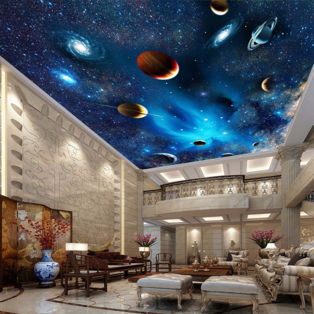 Custom Mural Wallpaper 3D Universe Space Star Planet Ceiling Paintings Living Room Bedroom Ceiling Background Decor Wall Paper beibehang customize universe star large mural bedroom living room tv background wallpaper minimalist 3d sky ceiling wallpaper
