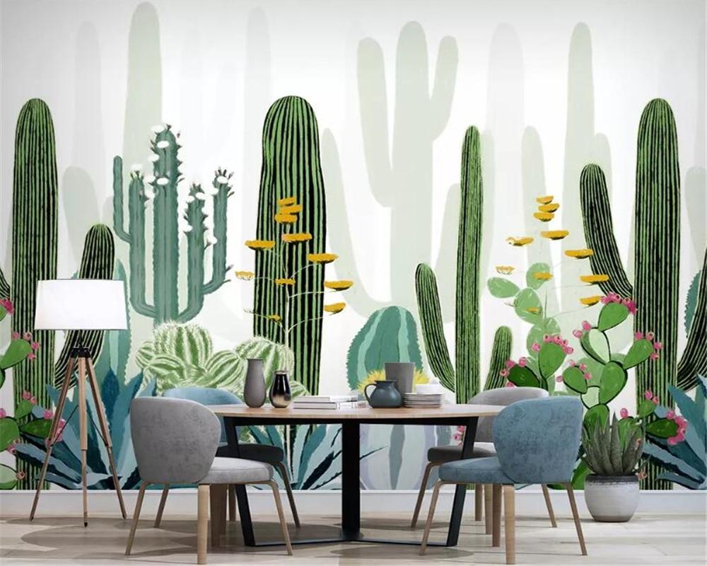 beibehang Custom Wallpaper Living Room Bedroom 3d Wallpaper Hand Painted nordic tropical plant cactus tv background 3d wallpaper