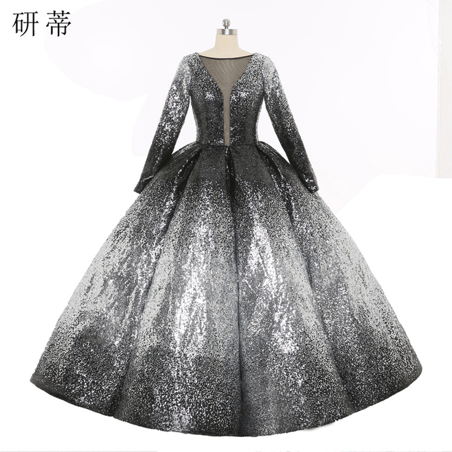 99478a2ce9f Vintage Silver Black Sequin Long Sleeve Formal Evening Dresses 2017 New  Arrival Deep V Neck Backless