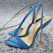 Women Stiletto Thin Iron High Heel Sandals Sexy Ankle Strap Buckle Open Toe Sky Blue Suede Party Bridals Ball Lady Shoes 3845-i5 недорго, оригинальная цена