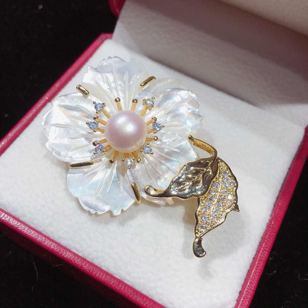 ZHBORUINI Fine เครื่องประดับไข่มุกน้ำจืด Pearl เข็มกลัด Shell ดอกไม้เข็มกลัด Pins เปลือกหอยธรรมชาติ Pearl Jewelry Corsage