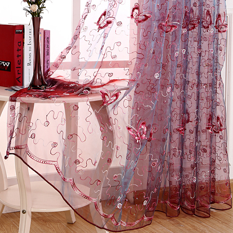 Fresh Butterfly Sequin Embroidered Gauze Curatins For Kids Bedroom Screens Purple Pink Romantic Classic Curtain For Living Room
