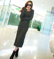 2013 Autumn And Winter Backing Slim Turtleneck Or O Neck Floor Length Thickening Sweater Dress Black
