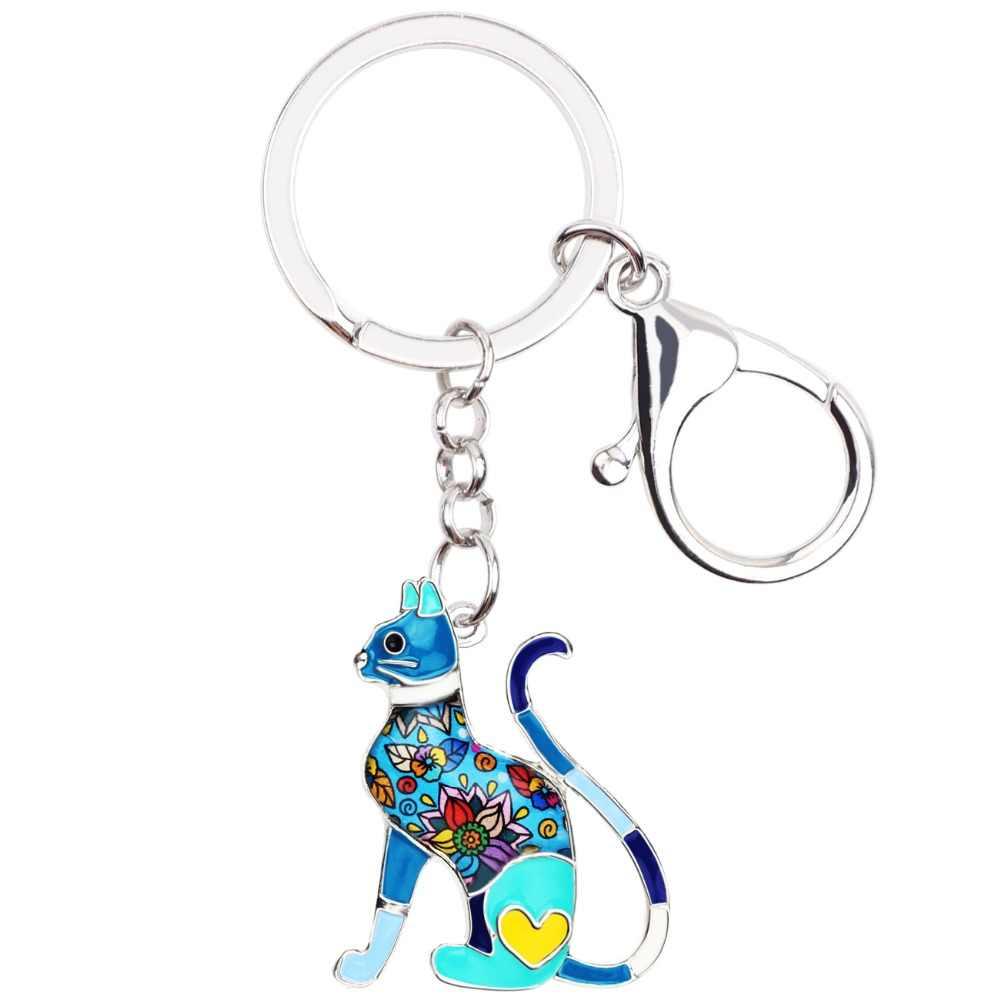 Bonsny Metal Enamel Bloemen Elegante Kitten Kat Sleutelhangers Sleutelhanger Ring Mode Dier Sieraden Voor Vrouwen Meisjes Zak Auto charms