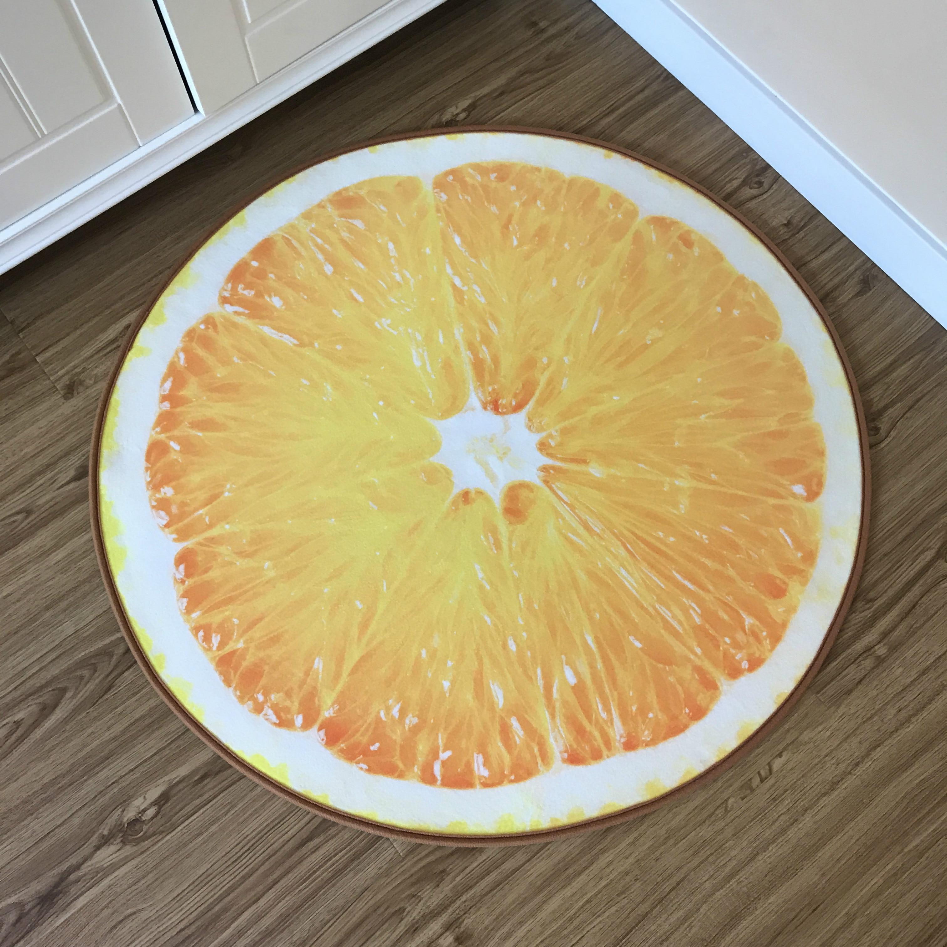Round Carpet Fruit 3D Print Soft Carpets Anti-slip Rugs Computer Chair Mat Kiwi Watermelon Floor Mat for Kids Room Home Decor