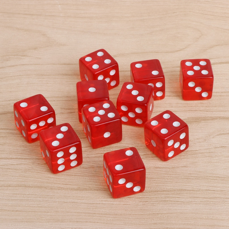 10 pcs Six Sided D6 Transparent 16mm RED RPG DICE Square Cube Dice Round Corner
