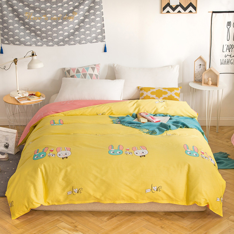 Yellow Cute Cartoon Bunny Pattern Bedding 1Pcs Student Child Adult Bedding 100% Cotton 220X240CM Size Duvet Cover Cover Quilts