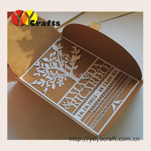 Invitation Cards Models Free Logo Kraft Paper Laser Cutting Envelope