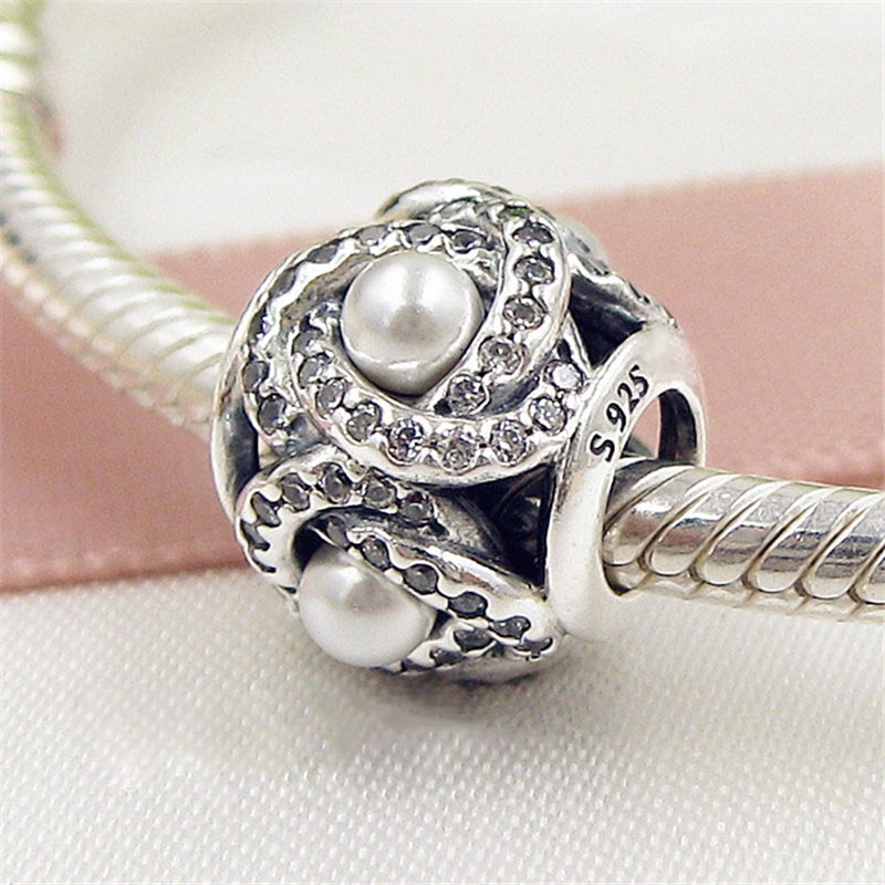 Fits Pandora bracelet Mother's Day pearl winding charms Original 925 Sterling Silver DIY jewelry Wholesale 2017 New making