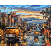 Frameless City Night Bus Diy Digital Oil Painting By Numbers Landscape Modern Wall Art Canvas Painting