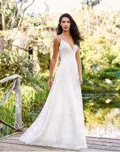 Smileven 2019 Lace wedding dress Spaghetti Straps Boho Bride Dress Deep V Neck Sexy Backless Wedding Gowns Custom Made