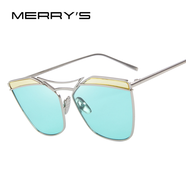 MERRY'S Women Cat Eye Sunglasses Classic Brand Designer Twin-Beams Sunglasses Coating Mirror Flat Panel Lens S'8287