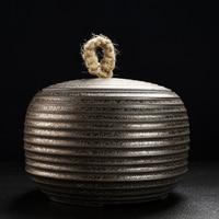 Vintage Tea Storage Jar Ceramic Coarse Pottery Screw Thread Imitation Rust Seal Caddy Art Container Teaware Accessories Crafts