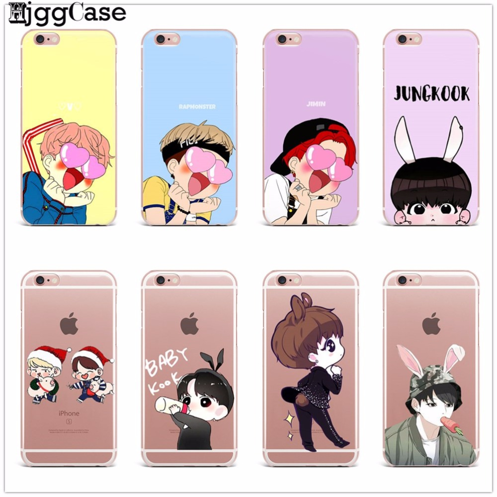 Phone Case Super Star BTS Korea Bangtan Boys Soft For iPhone 5 5S SE X 8 7 6 6S Plus Cute Cartoon Back Cover Clear silicone Case