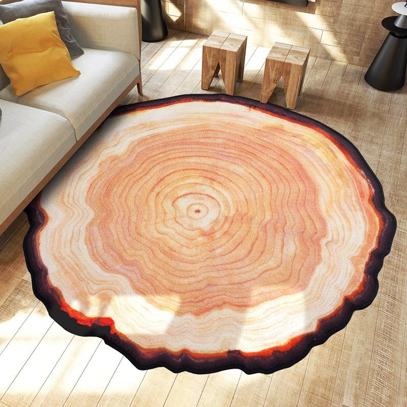 80*80 CM ancien arbre anneau tapis Polyester porte tapis tapis de sol tapis rond tapis pour salon chambre HomeTapete Alfombras