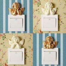 Europäischen harz schalter platte wandbehänge Dekorative Wand Aufkleber stereoskopischen Engel Buchse Schmuck Haushalt wandbehänge