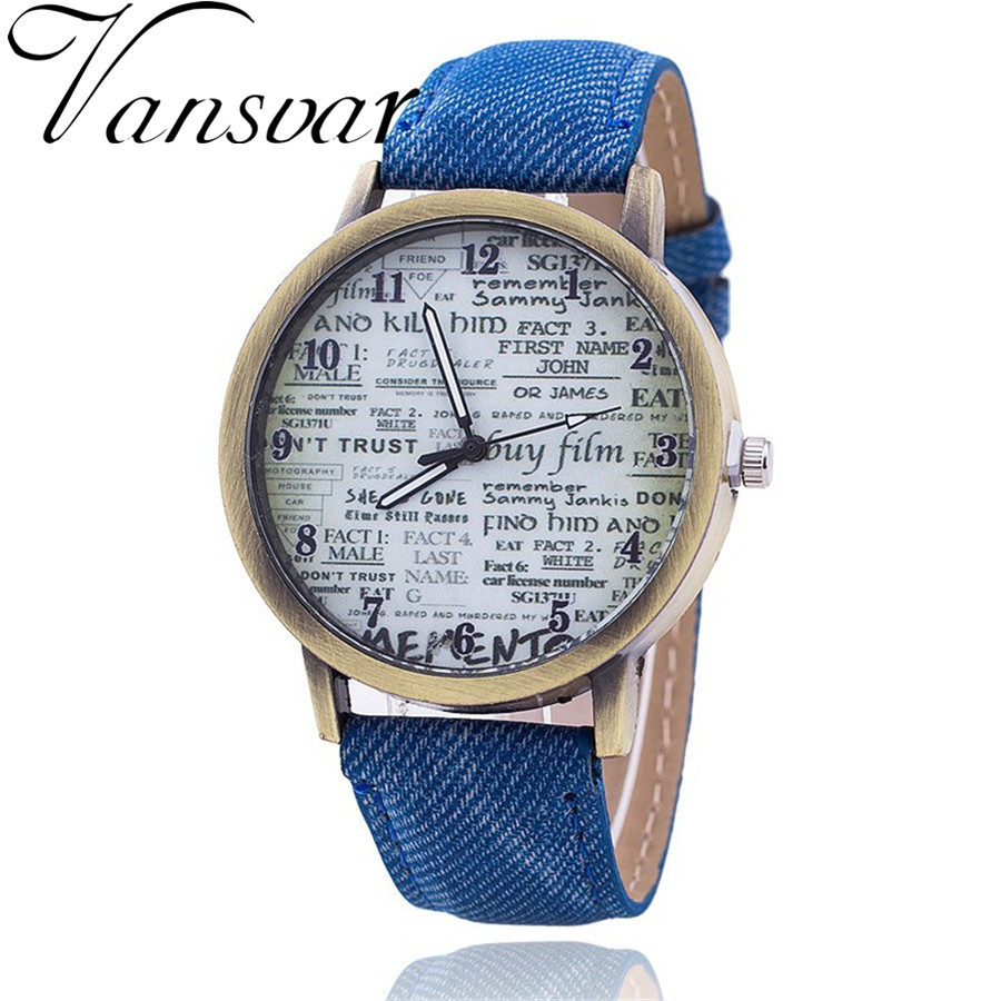 Fashion Jeans Quartz Watch Women Cute Newspaper Wristwatch Watch Relogio Feminino Casual Luxury Watches AWSB778