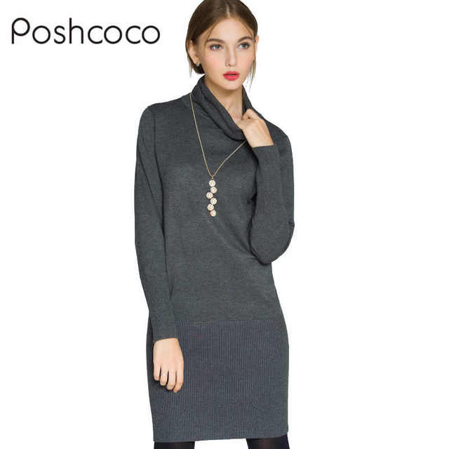 Poshcoco Women Long Knitted Sweaters Dresses 2017 Autumn Winter