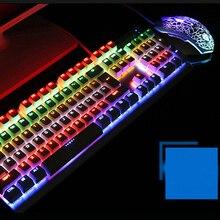 Многоцветная Радужная светодиодный с подсветкой механическое ощущение USB Проводная игровая клавиатура и мышь комбо для работы или игры, полный размер