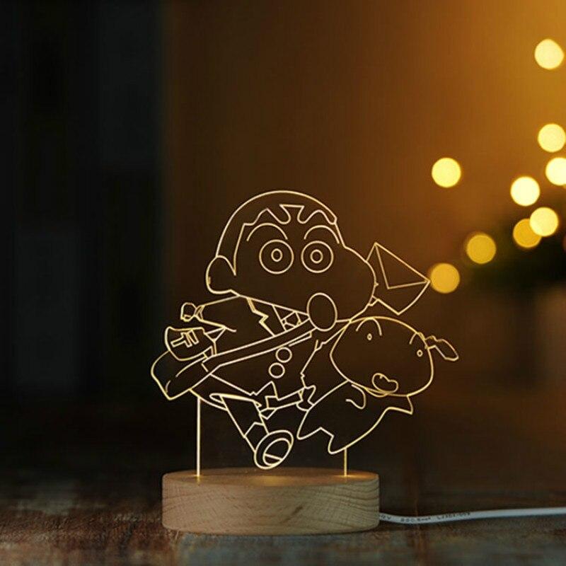 Shinnosuke изображение 3d светодиодный ночник деревянная музыкальная шкатулка База USB 5 В ночники Украшения в спальню приглушить/дистанционного ...