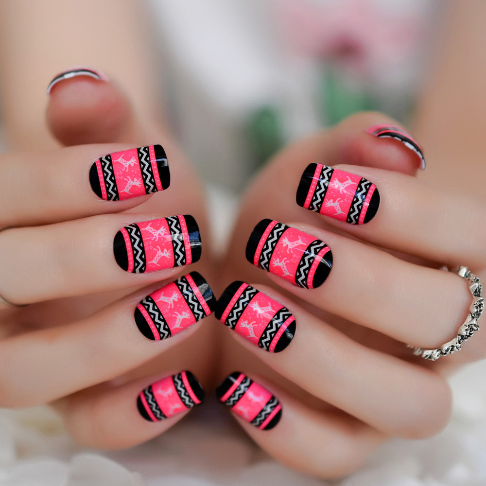 Christmas Lights Nails Pinterest: 24 Christmas False Nail Tips Medium Square Light Red Nails