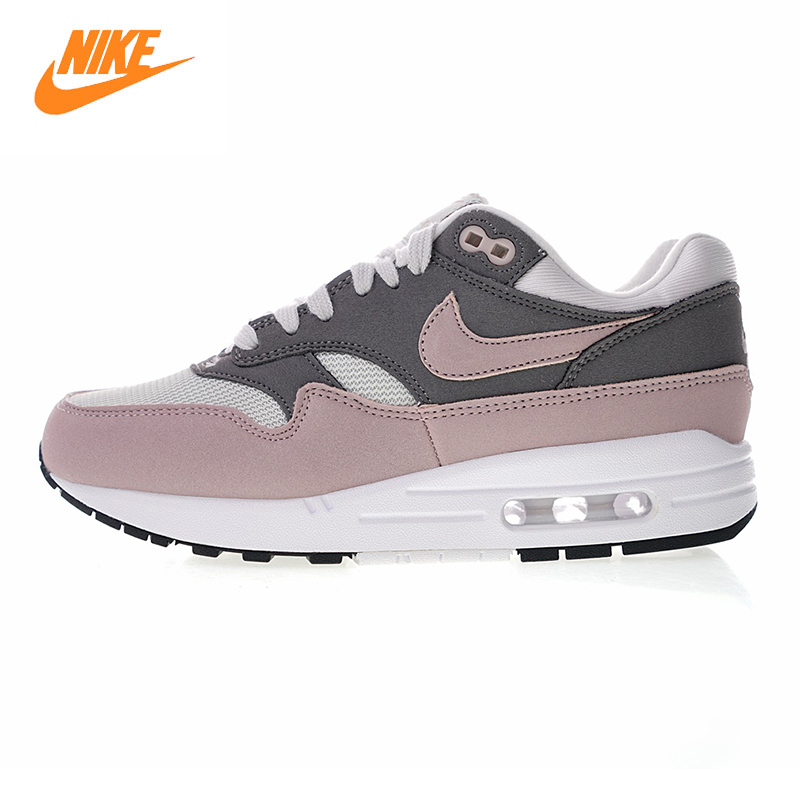 Nike Air Max 1 Women's Running Shoes , Grey & Purple, Shock Absorbing Wear-resistant Breathable Lightweight 19986 032