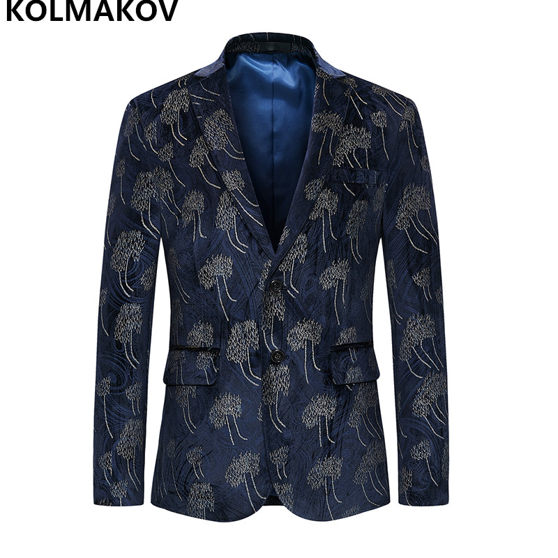 2019 New Top Designed Mens Blazers Cotton Male Blazer Men's Coats Luxury Prom Business Suits Blue Jacket For Men Big Size M-6xl Good Companions For Children As Well As Adults