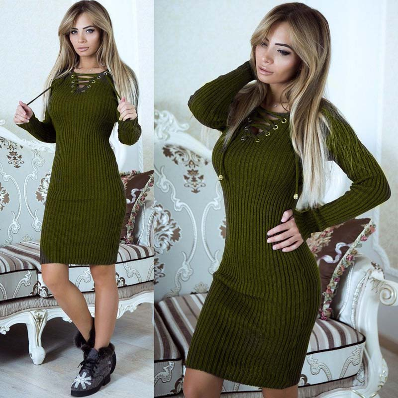 2019 Autumn Knitted Dress Women Long Sweater Dress Female Sweaters Ladies Long Sleeve Sweater Winter Bandage Long Sweater Women Платье