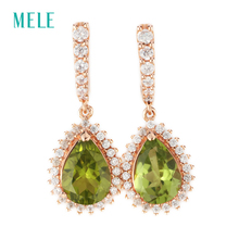 MELE Natural peridot silver earring, rose gold plated, pears 7mm*10mm,August birthstone , yellow-green color, for elegant ladies